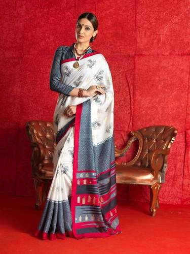Fancy Latest Traditional Designer Printed Bhagalpuri Silk Saree