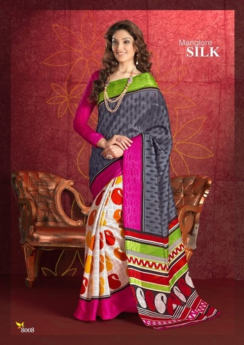 Fancy Latest Traditional Designer Printed Bhagalpuri Silk Saree