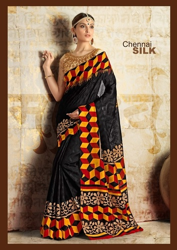 Fancy Latest Traditional Designer Printed Semi Cotton Saree