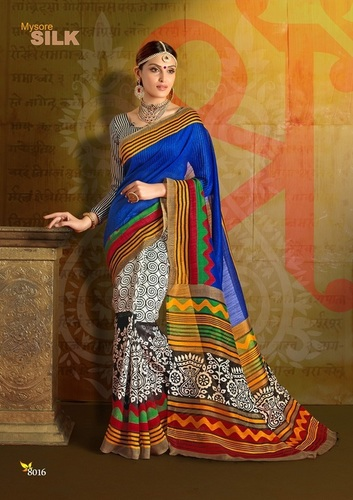 Fancy Latest Traditional Designer Printed Chapa Silk Saree