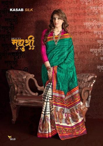 Fancy Latest Traditional Designer Printed Bhagalpure Silk Saree