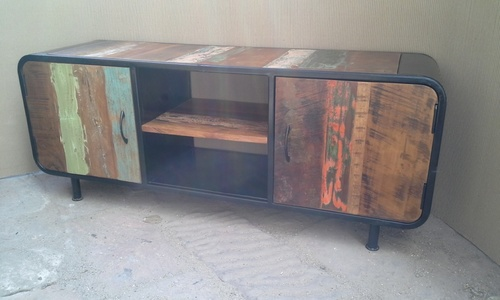 Iron Reclaimed Wooden TV Cabinet