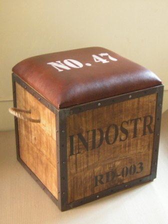 Iron Wooden Storage Stool