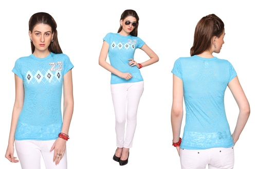 Bedazzle Geometric Print Women's Round Neck Blue T-Shirt