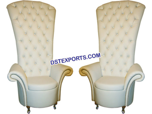 Wedding High Back Crystal Fitted White Chair