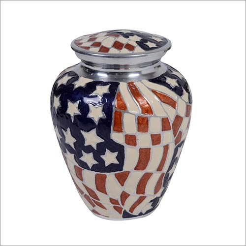 Flag Design Alloy Urn