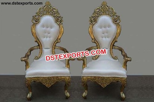 Wedding Designer Golden Carved Chairs