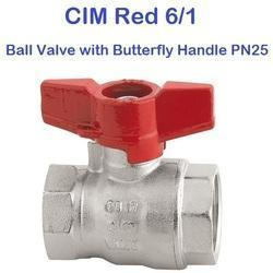 CIM RED 6/1 Ball Valve with Butterfly Handle PN25
