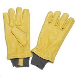 Beige Grain Leather Glove