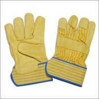 Yellow Leather Palm Gloves