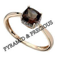 Smoky Quartz Ring With Cz