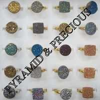 Sterling Silver Gold Plated Druzy Rings