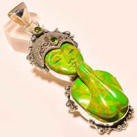 COPPER GREEN TURQUOISE PRAYING LADY , PERIDOT