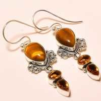 YELLOW TIGER'S EYE , CITRINE VINTAGE STYLE