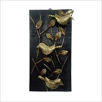 Wooden Panel With Leaf Three Birds