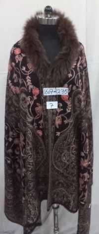 VIscose Acrylic With Fur Neck And Embroidered Ponc