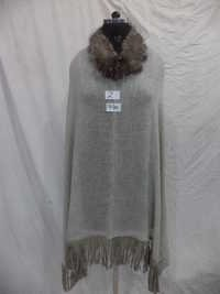 Woolen Fur Neck With Suede Tassel Poncho