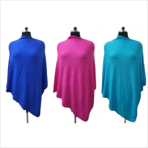 Soild Colour Cable Knit Poncho
