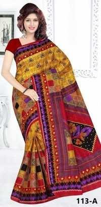 100 % COTTON PRINTED SAREE CUT 5.50 MTR WITH B.P. 0.80 CENTIMETER