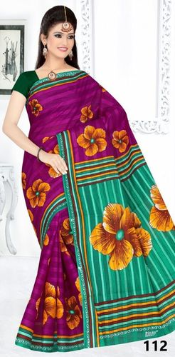 Cotton Printed Saree With b.p.