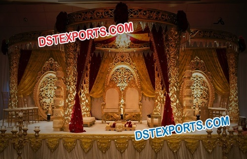 Wedding Gold Mandap Setup