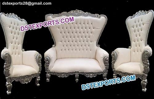 Asian Wedding High Back White Sofa Set