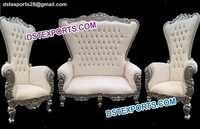 Asian Wedding High Back White Sofa Set