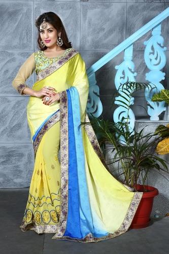 Stylish Double Shaded Saree