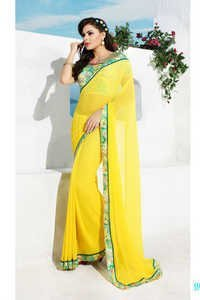 Designer Bright Yellow Saree
