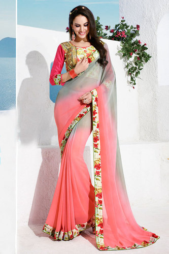 Pink Sheded Saree