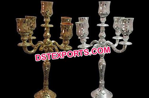 Five arm Wedding Mirror Work candelabra