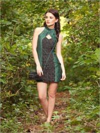 Organic Green High-Neck Dress