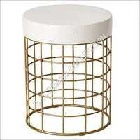 EM Cooper Metal Stool Gold White