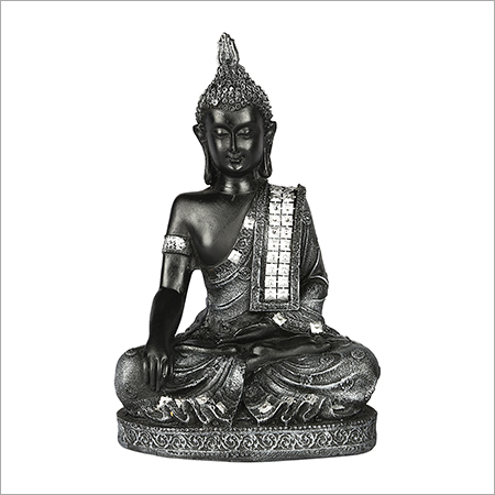 Grey Meditating Buddha Statue