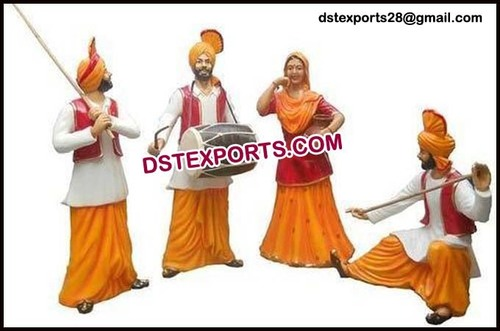 Punjabi Culture Life Size Bhangra Statue for Dhaba