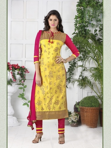 Yellow Embroidered Designer Dress