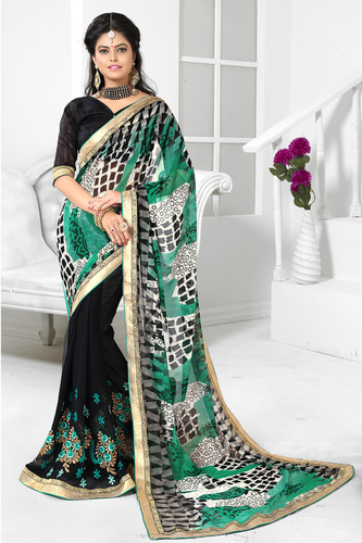 Stylish Embroidered & Printed Saree
