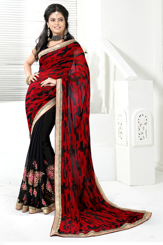 Stylish Printed Embroidered Saree