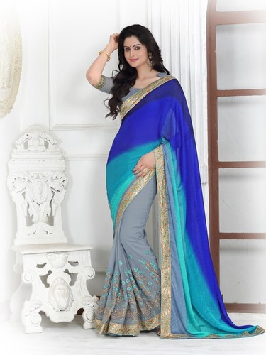Designer Stylish Double Shaded saree
