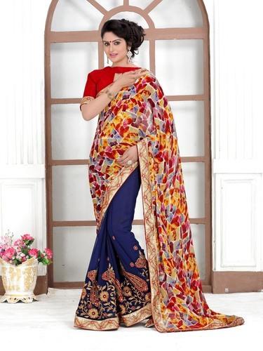 Stylish Embroidered & Printed Saree