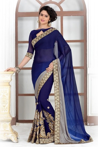 Trendy Printed Embroidered Saree