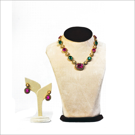 Pearl Diamond Coloured Stones Necklace Set