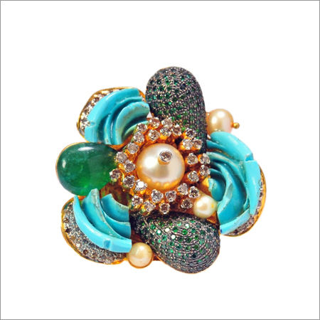 Ring In Diamonds And Coloured Stones And Real Pearls