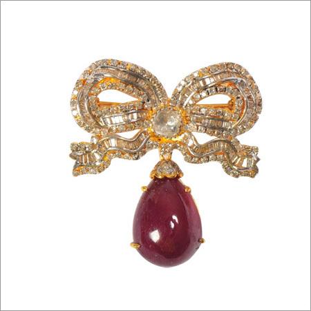 Broach In Polki, Diamonds And Ruby