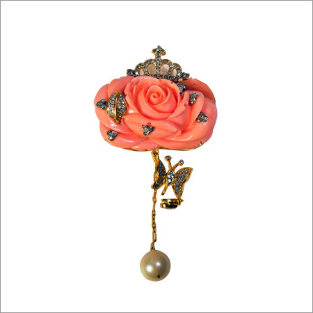 Broach In Diamonds And Italian Rose And Real Pearl
