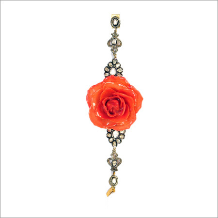 Bracelet In Antique Diamonds And Real Italian Rose