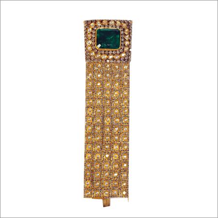 Bracelet In Polki, Diamonds And Green Stone