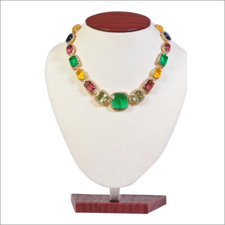 Necklace In Diamonds And Multi Stone