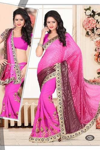 Stylish Embellished Pink Saree