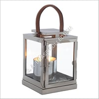 Stainless Steel And Glass Pillar Hold Lantern
